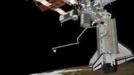 Andockmanöver des Space Shuttle Discovery, künstlerische Darstellung