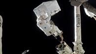 NASA%2dAstronaut Rex Walheim am Roboterarm der ISS