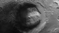 Krater Gale mit der Landestelle des Mars Science Laboratory (Schwarzweiß%2dAnsicht)