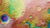 Topographische Bildkarte des Mündungsgebiets von Tinto Vallis