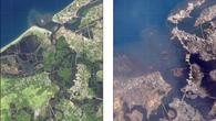 Banda Aceh, Sumatra/Indonesien: Vorher (2003) %2d Nachher (2004)