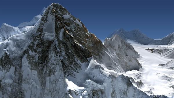 Perspektive Ansicht des K2 unter Verwendung des Höhenmodells