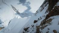 Tiefblick vom Steilaufschwung unterhalb der Felssschulter zum Firngrat