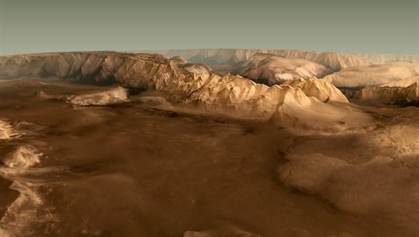 Die Valles Marineris auf dem Mars
