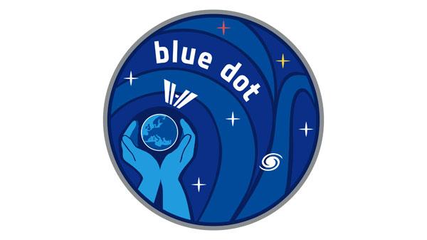 """""""The Blue Dot"""" %2d Das Logo zur ISS%2dMission des deutschen ESA%2dAstronauten Alexander Gerst"""