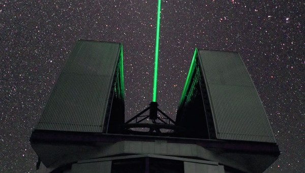Laser tracking of space debris.